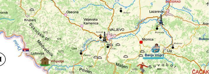 mionica mapa Geographical position | Spa Vrujci Banja Vrujci mionica mapa