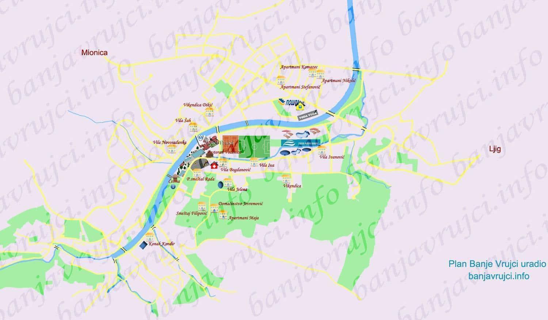 Plan Banje Vrujci Mapa Smestaja Banja Vrujci